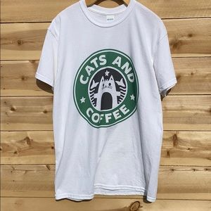 Starbucks Style Cats & Coffee T-Shirt